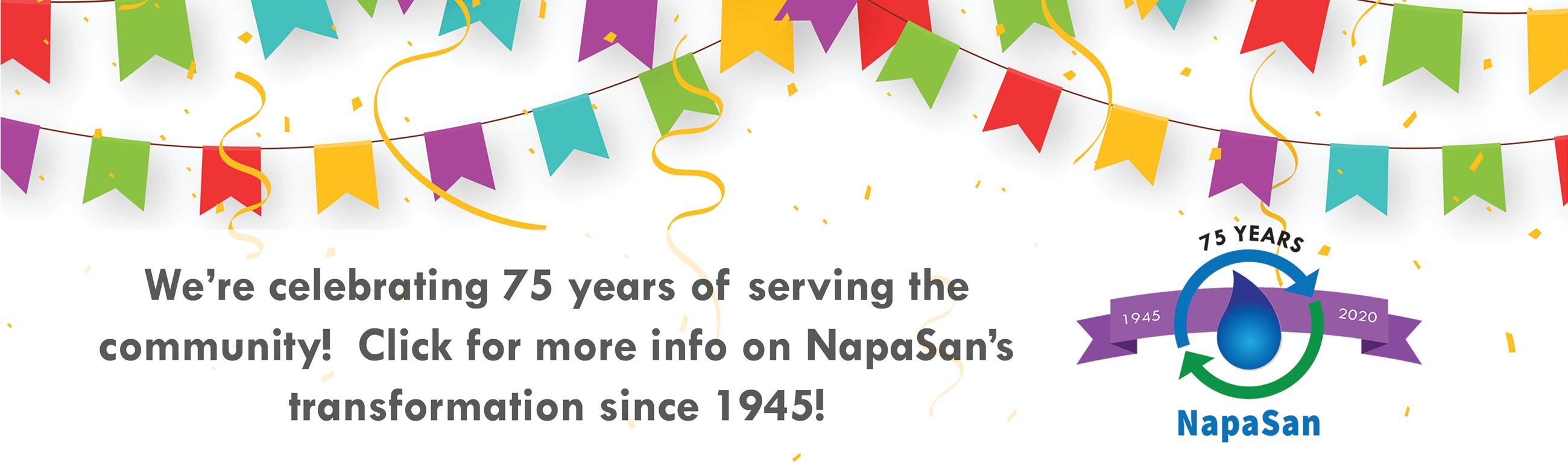 75th Anniversary Banner.  Click to read about NapaSan's history.